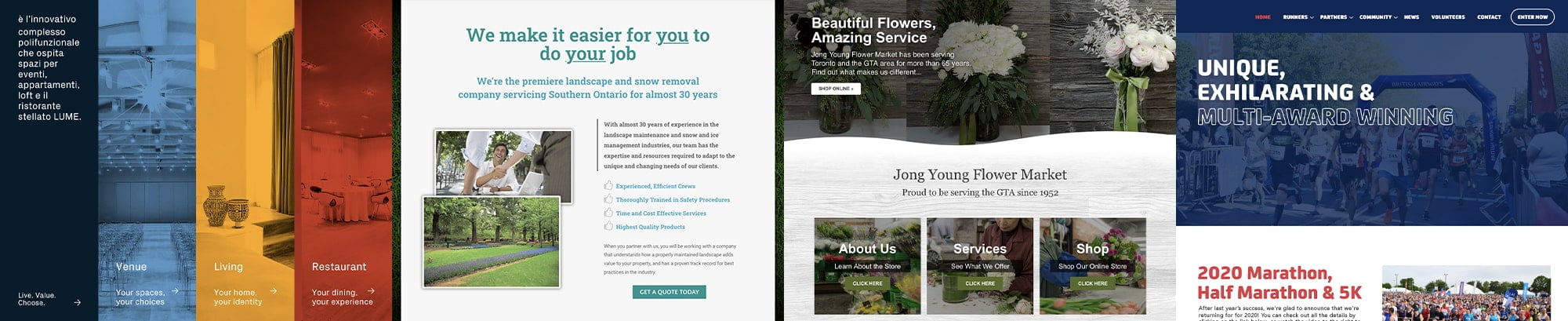 A composition showing 4 web pages designed by One Guy Creative