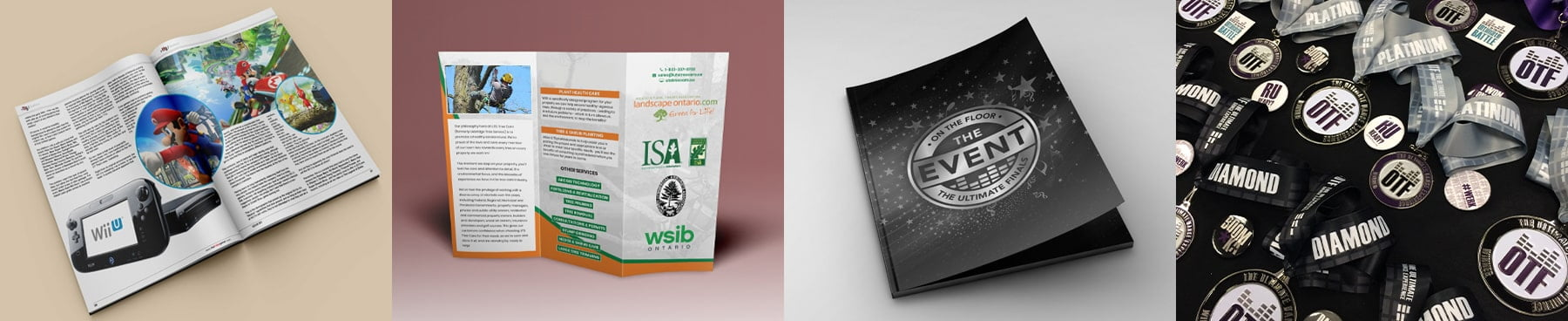 An image composition showing a magazine, tri-fold flyer, event program, and winners medals designed by One Guy Creative