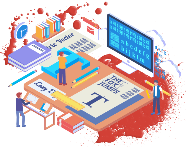 Illustration showing graphic designers working on visuals surrounded by over-sized graphic designs and fonts